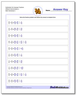 Subtraction Worksheet for Improper Fraction Worksheets Different Denominators 2