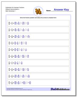 Subtracting Fraction Worksheets Subtraction Worksheet for Improper Different Denominators 4
