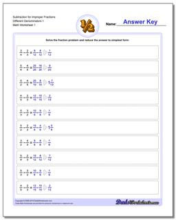 Subtracting Fraction Worksheets Subtraction Worksheet for Improper Different Denominators 1