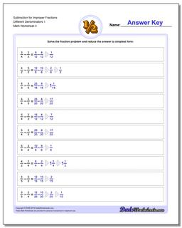 Subtraction Worksheet for Improper Fraction Worksheets Different Denominators 1