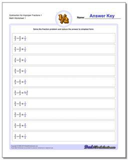 Improper With Same Denominator Fraction Worksheet Subtraction Worksheet