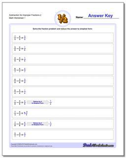 Subtracting Fraction Worksheets Subtraction Worksheet for Improper 2