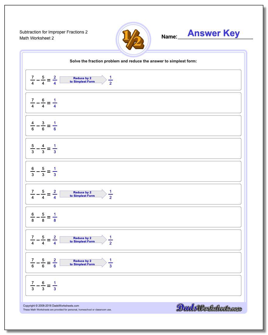 Subtraction Worksheet for Improper Fraction Worksheets 2 www.dadsworksheets.com/worksheets/fraction-subtraction.html
