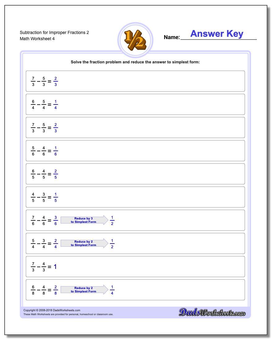 Subtraction Worksheet for Improper Fraction Worksheets 2