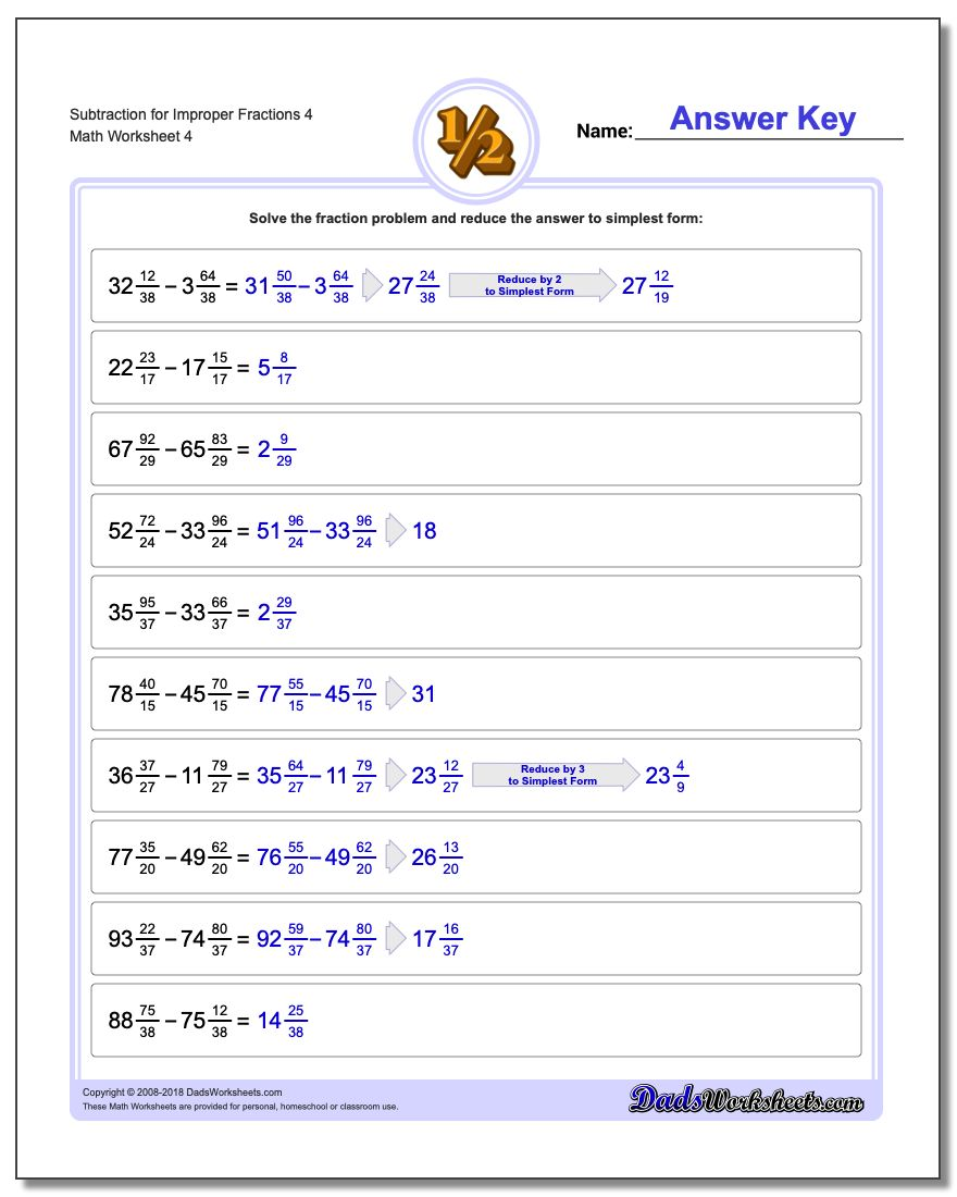 Subtraction Worksheet for Improper Fraction Worksheets 4