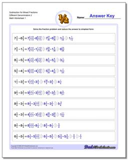 Subtracting Fraction Worksheets Subtraction Worksheet for Mixed Different Denominators 2