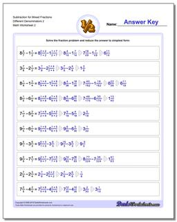 Subtraction Worksheet for Mixed Fraction Worksheets Different Denominators 2 www.dadsworksheets.com/worksheets/fraction-subtraction.html