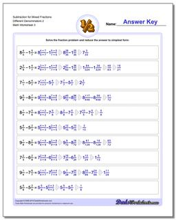 Subtraction Worksheet for Mixed Fraction Worksheets Different Denominators 2