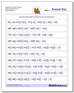 Subtracting Fraction Worksheets Subtraction Worksheet for Mixed Different Denominators 3