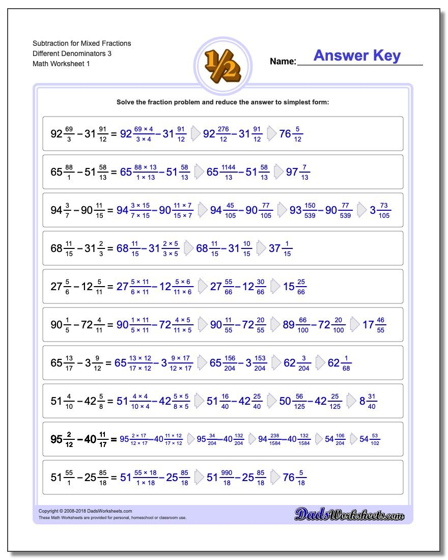 Mixed Fractions With Different Denominator – Fractions with Unlike Denominators Worksheet