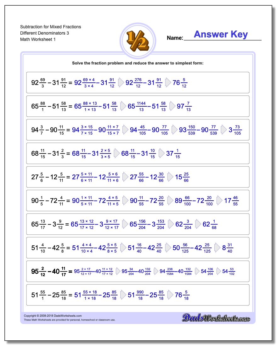 Adding mixed fractions with unlike denominators subtracting fraction worksheets subtraction worksheet for mixed different denominators 3 ibookread Read Online