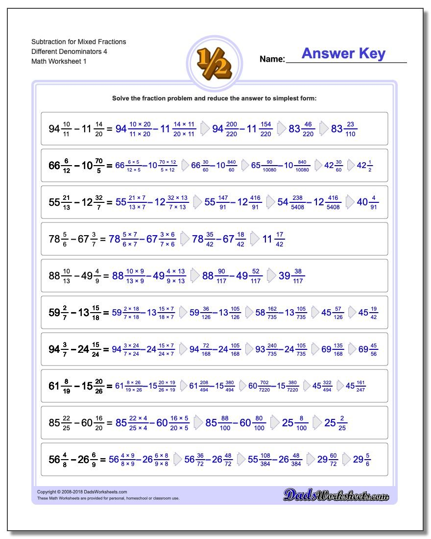 Subtracting Fraction Worksheets Subtraction Worksheet for Mixed Different Denominators 4