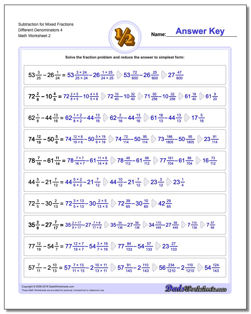 Subtraction Worksheet for Mixed Fraction Worksheets Different Denominators 4 www.dadsworksheets.com/worksheets/fraction-subtraction.html