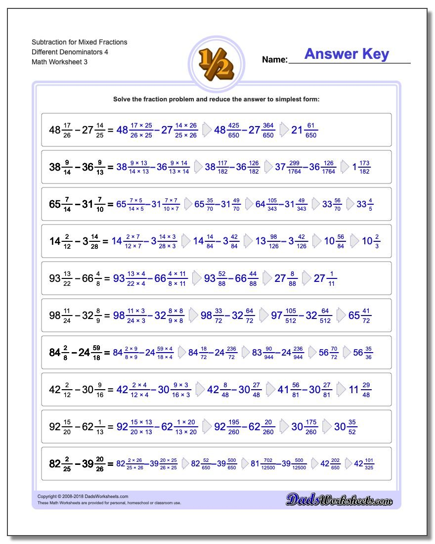 Subtraction Worksheet for Mixed Fraction Worksheets Different Denominators 4