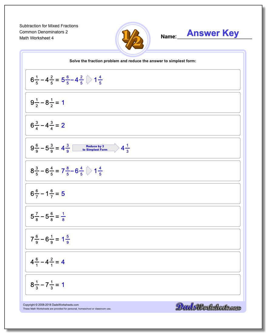 Subtraction Worksheet for Mixed Fraction Worksheets Common Denominators 2