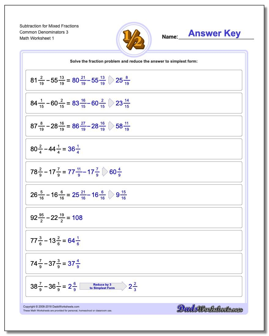 Subtracting Fraction Worksheets Subtraction Worksheet for Mixed Common Denominators 3