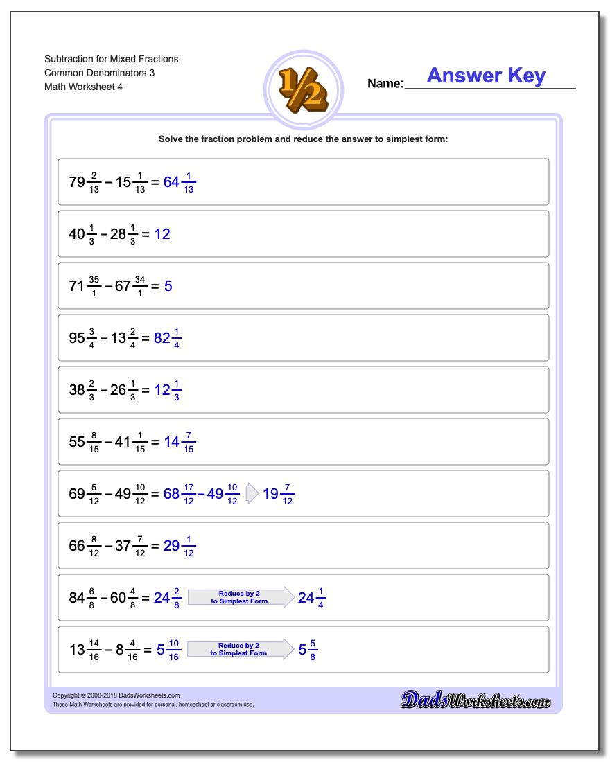 Subtraction Worksheet for Mixed Fraction Worksheets Common Denominators 3