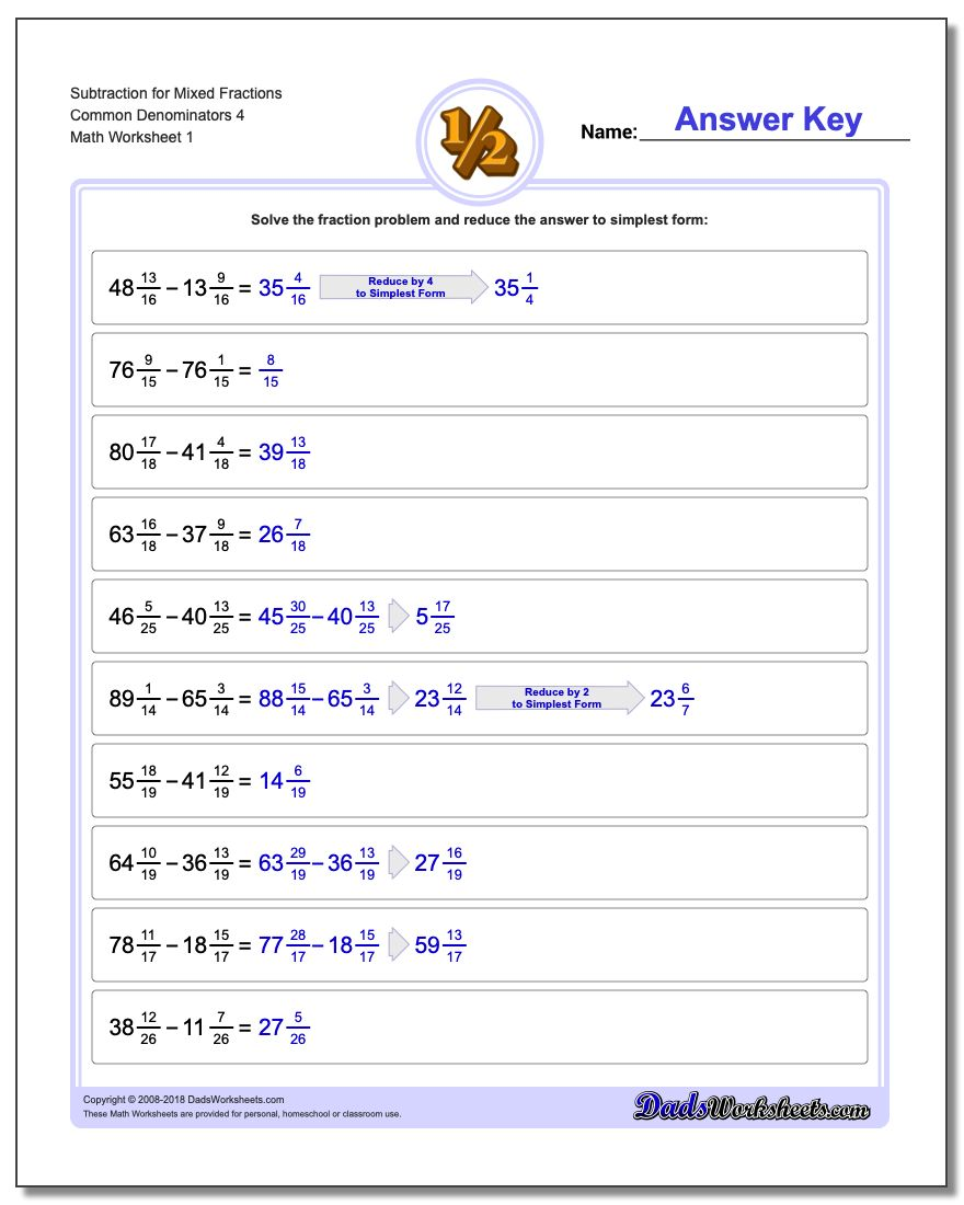 Subtracting Fraction Worksheets Subtraction Worksheet for Mixed Common Denominators 4