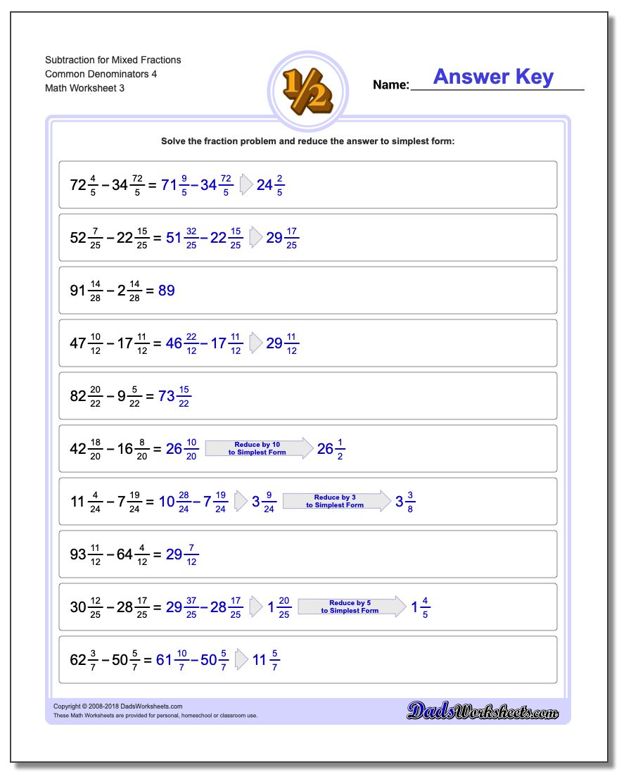 Subtraction Worksheet for Mixed Fraction Worksheets Common Denominators 4