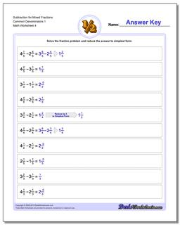 Subtraction Worksheet for Mixed Fraction Worksheets Common Denominators 1