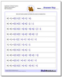 Mixed Fraction Worksheets With Different Denominator Fraction Subtraction Worksheet