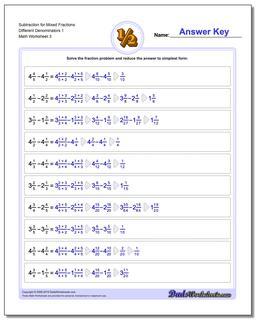 Subtraction Worksheet for Mixed Fraction Worksheets Different Denominators 1