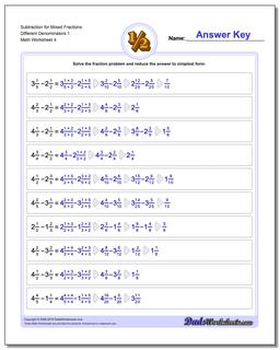 Subtraction Worksheet for Mixed Fraction Worksheets Different Denominators 1