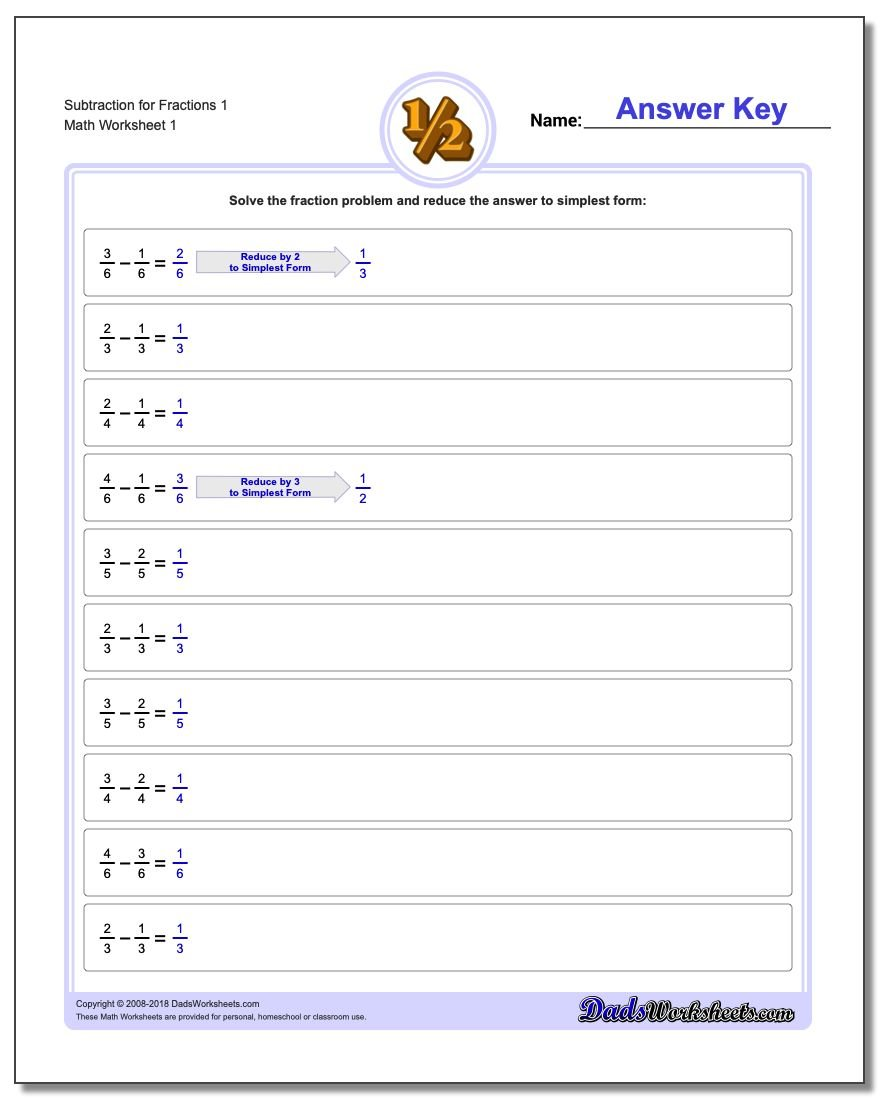 Fraction Subtraction – Addition and Subtraction Fractions Worksheets