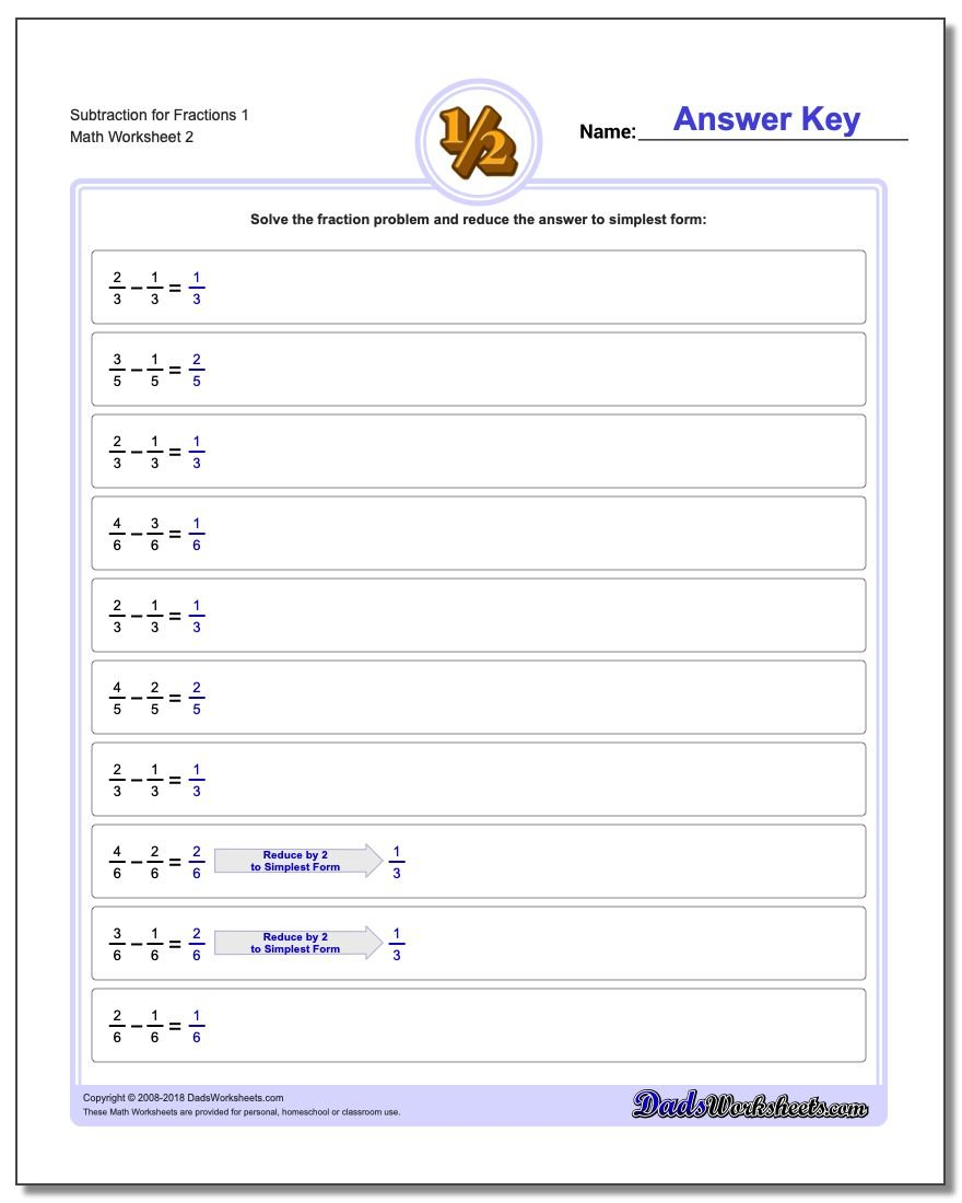 Subtraction Worksheet for Fraction Worksheets 1 www.dadsworksheets.com/worksheets/fraction-subtraction.html