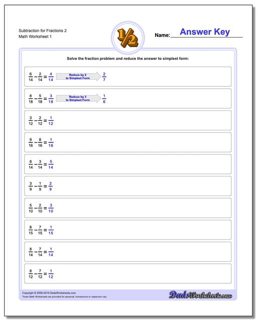 Subtracting Fraction Worksheets Subtraction Worksheet for 2