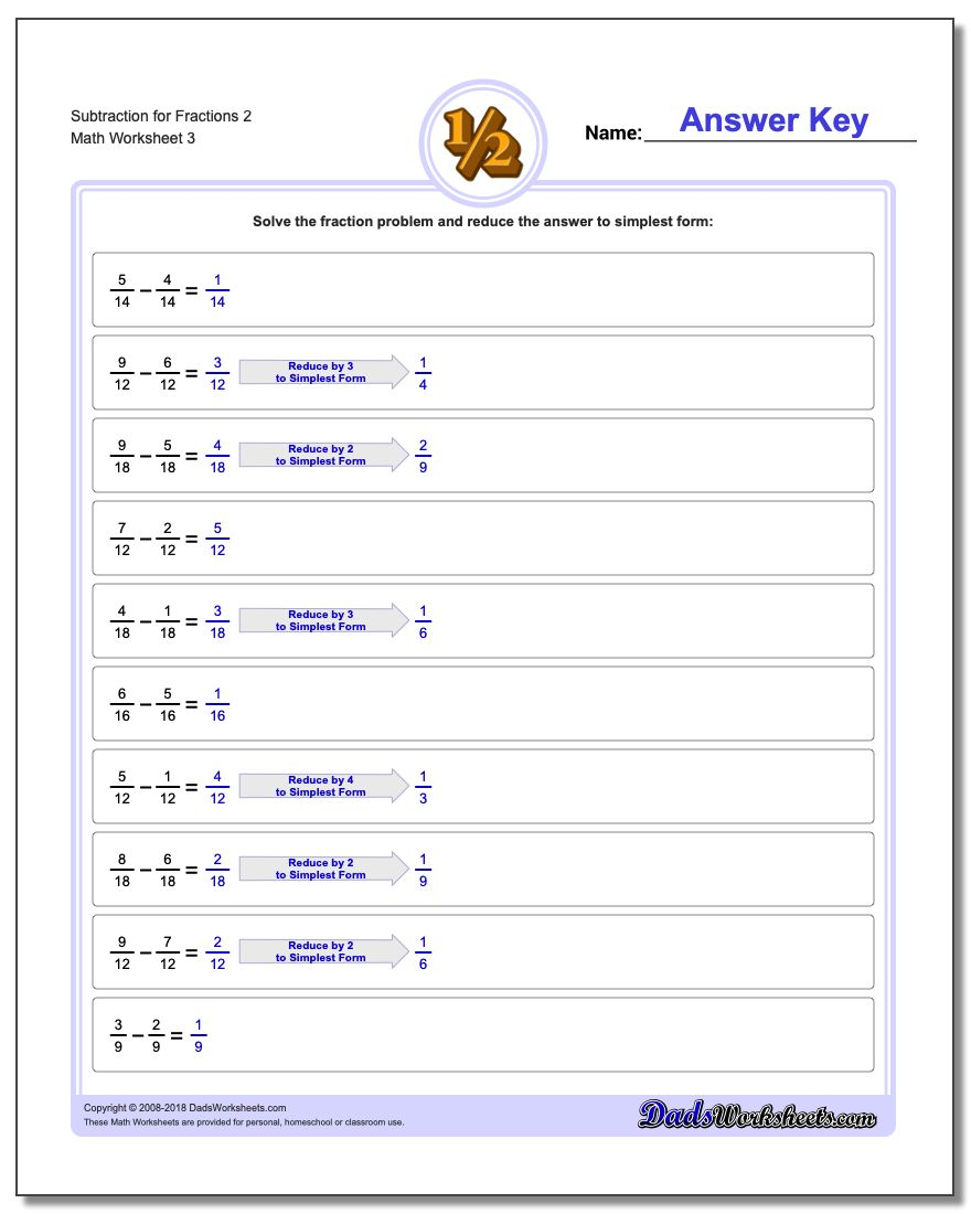 Subtraction Worksheet for Fraction Worksheets 2