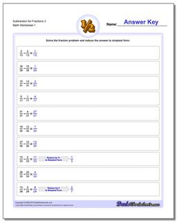 Subtracting Fraction Worksheets Subtraction Worksheet for 3