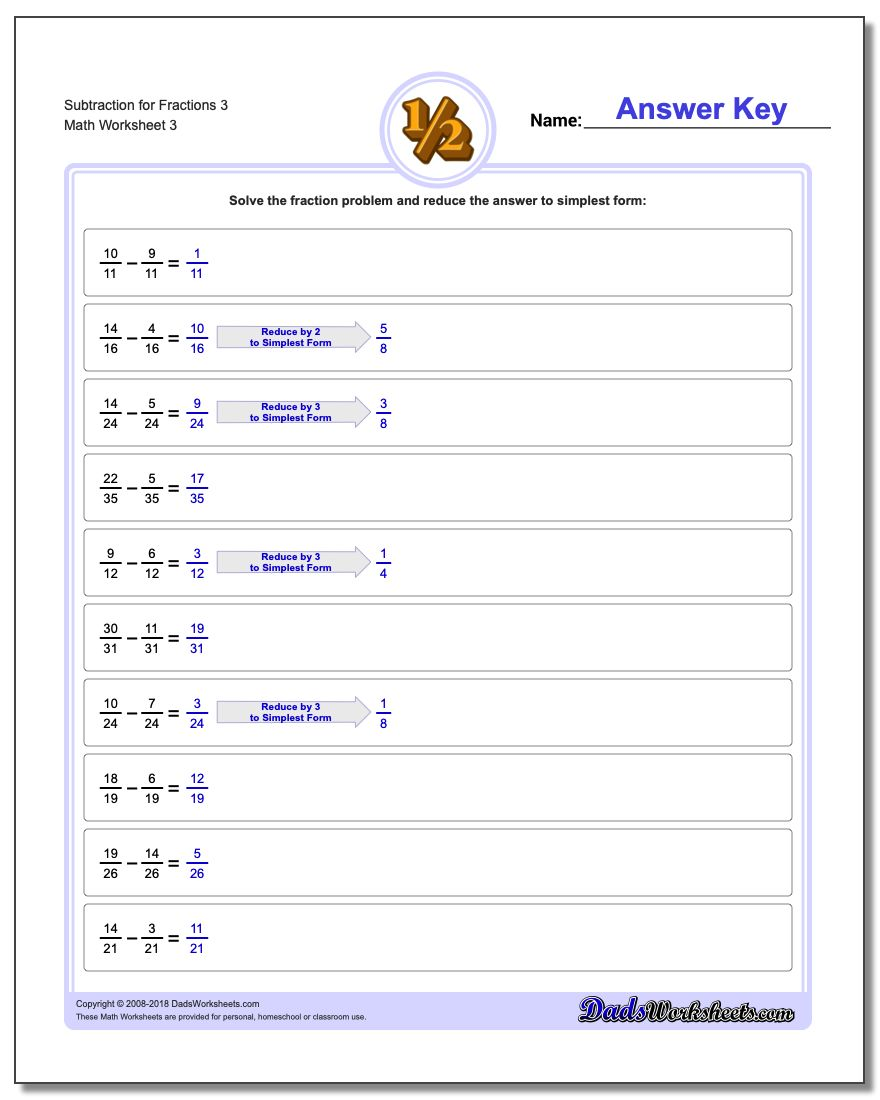 Subtraction Worksheet for Fraction Worksheets 3