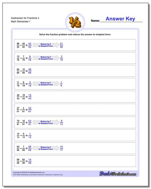 Subtracting Fraction Worksheets Subtraction Worksheet for 4