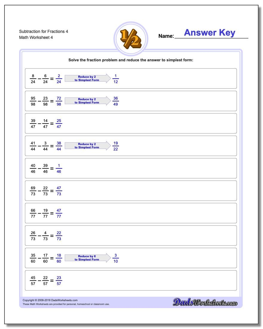 Subtraction Worksheet for Fraction Worksheets 4