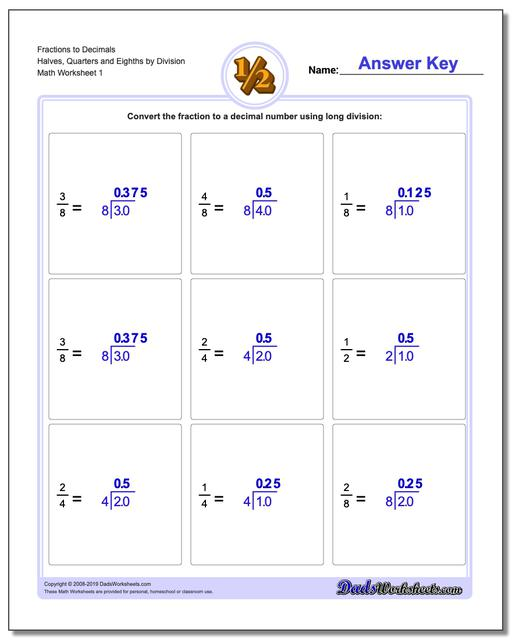 Fraction Worksheets as Decimals to Halves, Quarters and Eighths by Division Worksheet