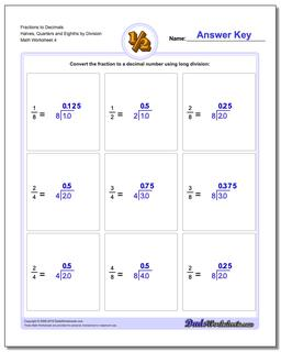 Fraction Worksheets to Decimals Halves, Quarters and Eighths by Division Worksheet