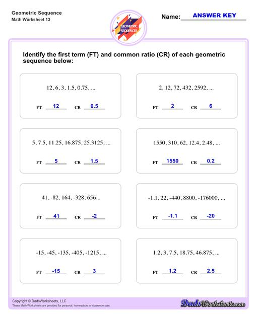 Geometric sequences worksheets including practice finding the nth term and common ratio for a sequence of numbers, or finding arbitrary nth terms in an progressions given its formula definition.Geometric Sequence First Term And Common Ratio V1