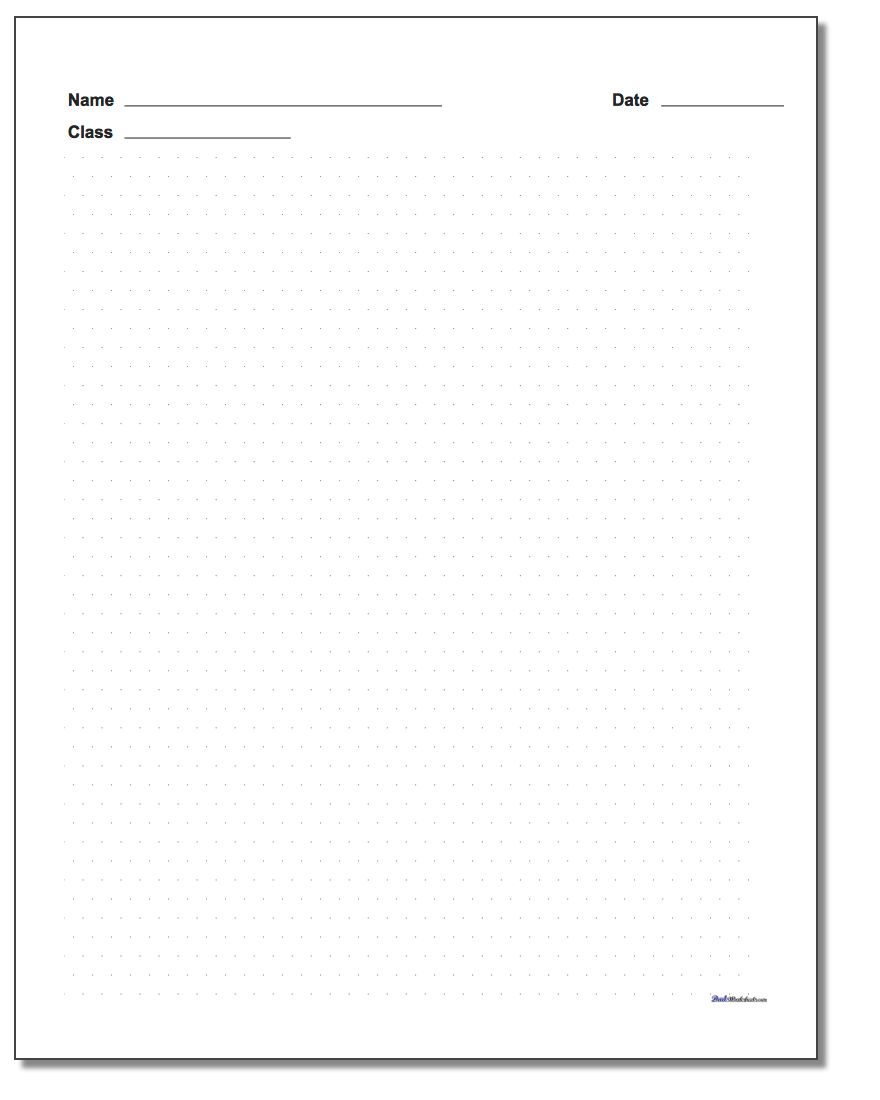 Isometric Dot Paper with Name Block www.dadsworksheets.com/worksheets/graph-paper.html