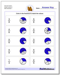 Graphic Fraction Worksheets Draw the Fraction Simple 2