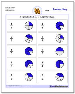 Graphic Fraction Worksheets Draw with Help