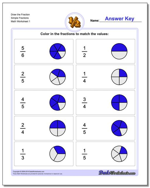 graphic fractions  graphic fraction worksheets draw simple