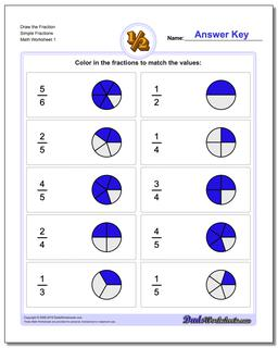 Graphic Fraction Worksheets Draw Simple