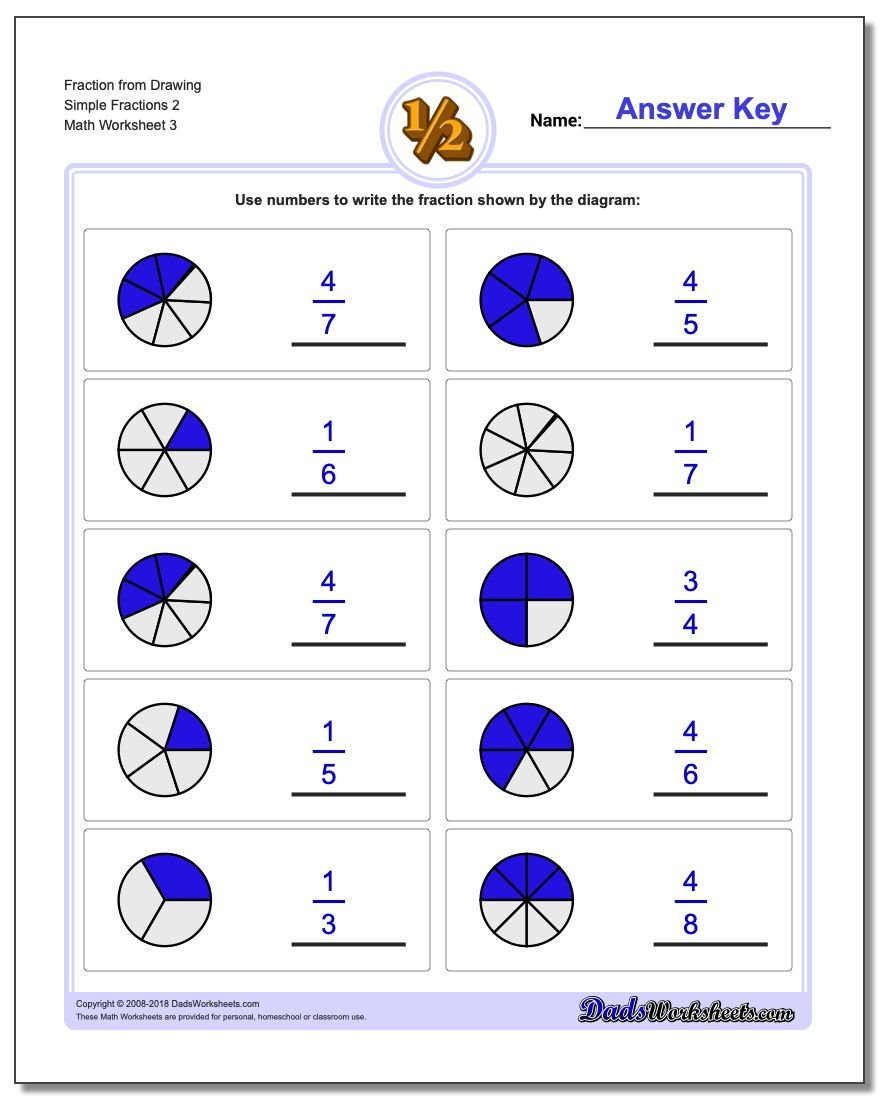 Fraction Worksheet from Drawing Simple Fractions 2
