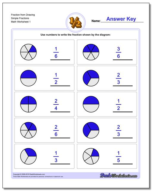 graphic fractions  simple  fraction worksheets from drawing graphic fractions