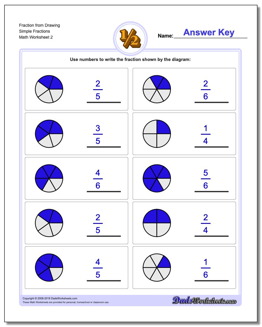 Fraction Worksheet from Drawing Simple Fractions www.dadsworksheets.com/worksheets/graphic-fractions.html
