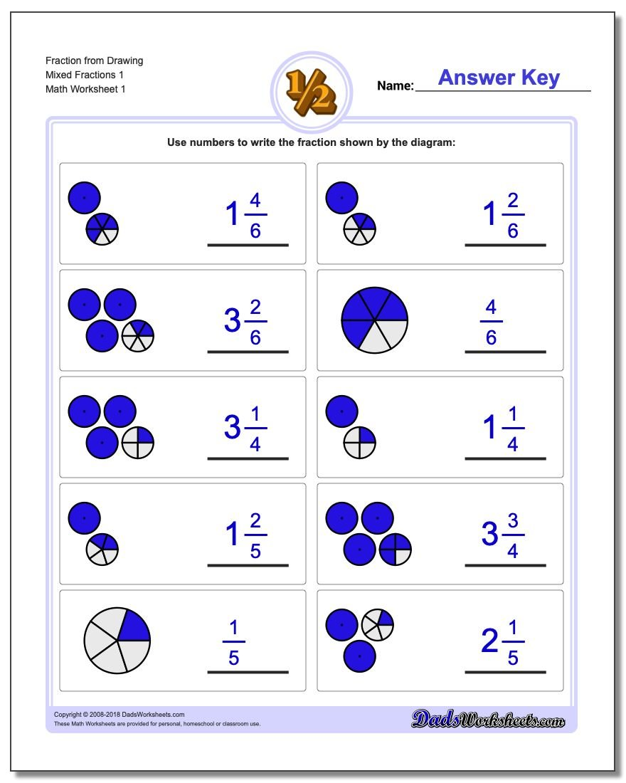 Graphic Fraction Worksheets Fraction from Drawing Mixed 1