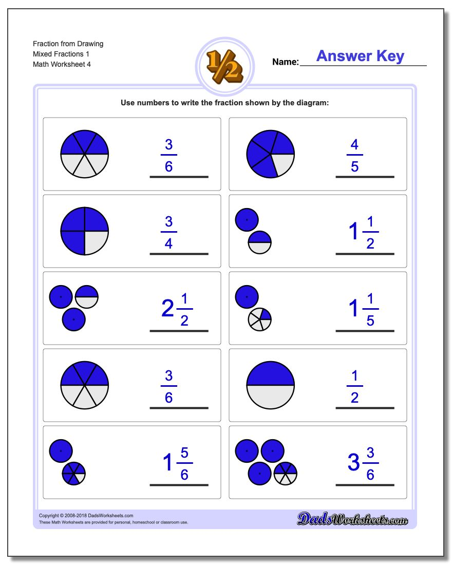 Fraction Worksheet from Drawing Mixed Fractions 1
