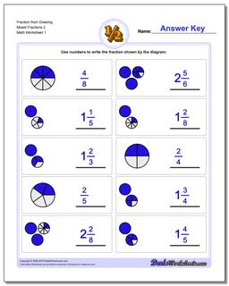 Fraction Worksheet from Drawing Mixed Fractions 2 #Graphic #Fraction #Worksheets
