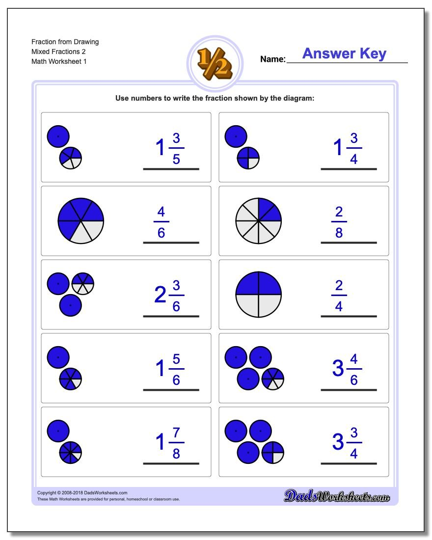 Graphic Fraction Worksheets Fraction from Drawing Mixed 2